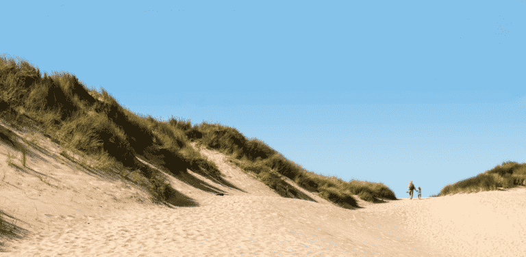 Sand dunes at Perranporth in Cornwall