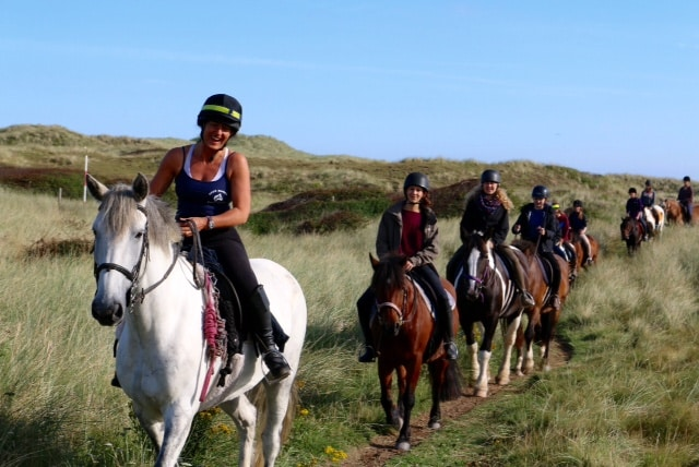 Horse riding Perranporth beach Cornwall